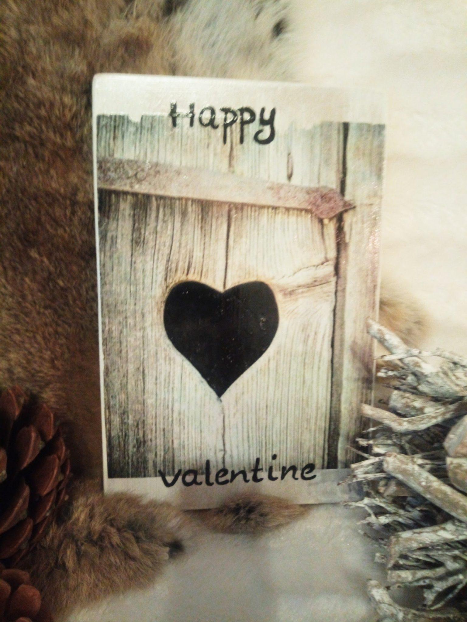 Deco-bordje: Happy Valentine - Hout