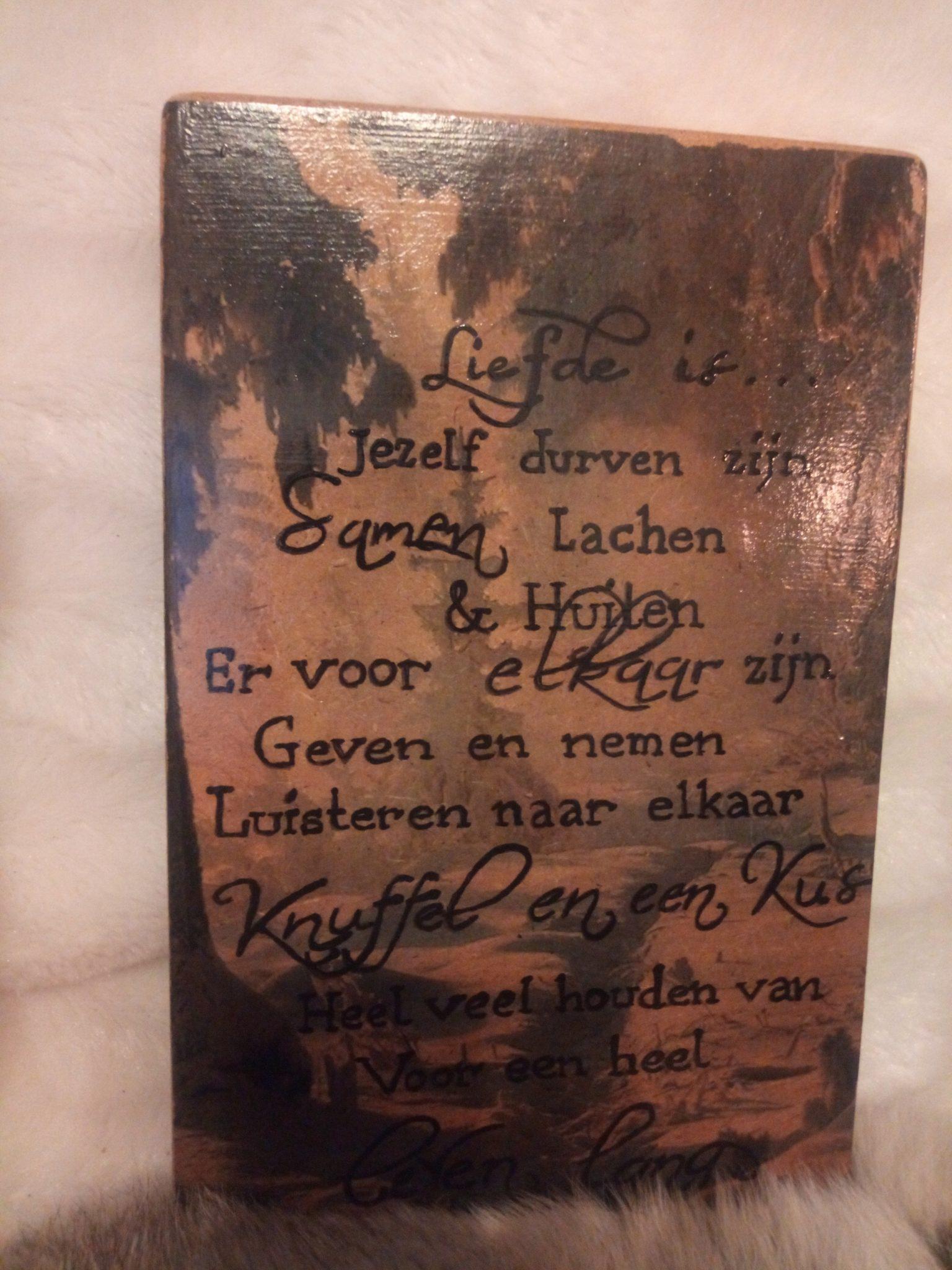 Deco-bordje: Liefde is - Tekst