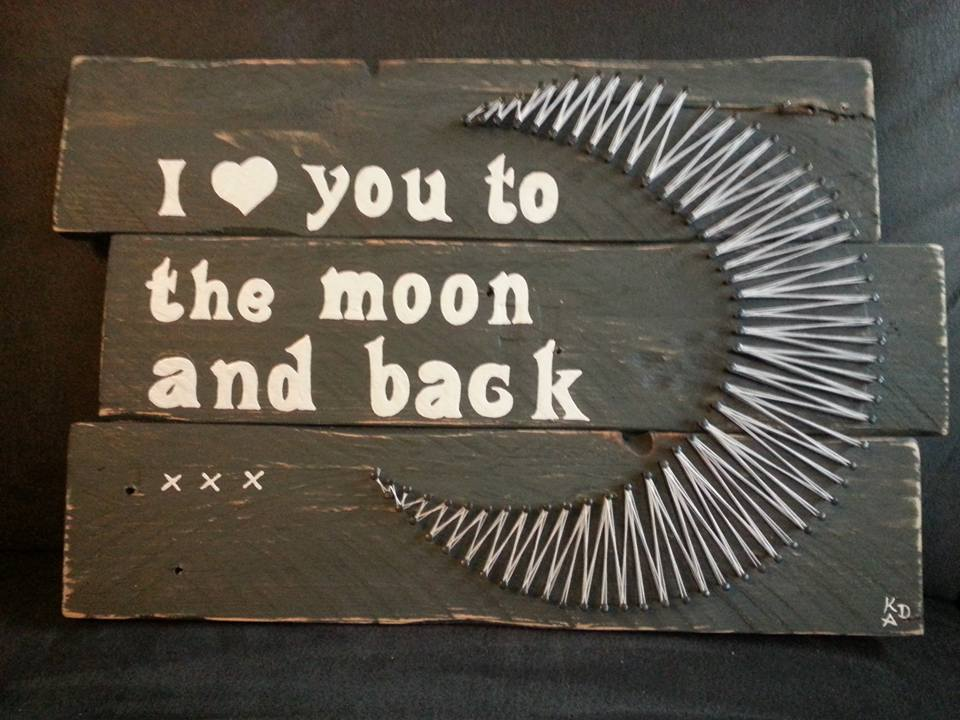Deco-bordje: Love you to the moon (incl. string-art)