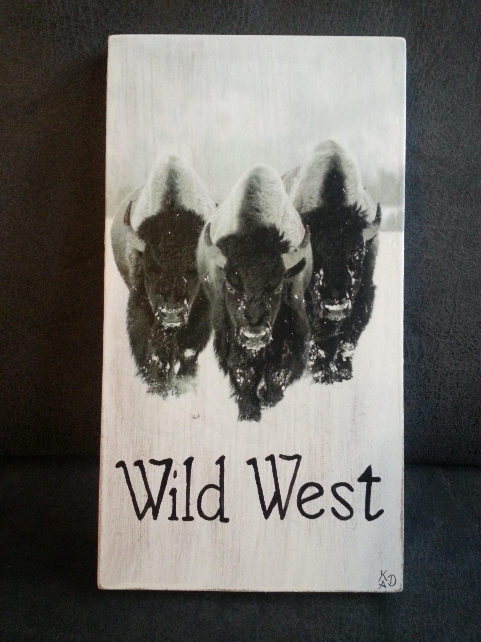 Deco-bordje: Wild West - bizons
