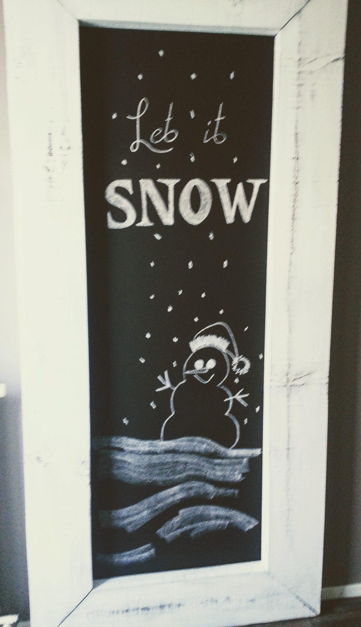 Krijttekst - Winter (met tekening)