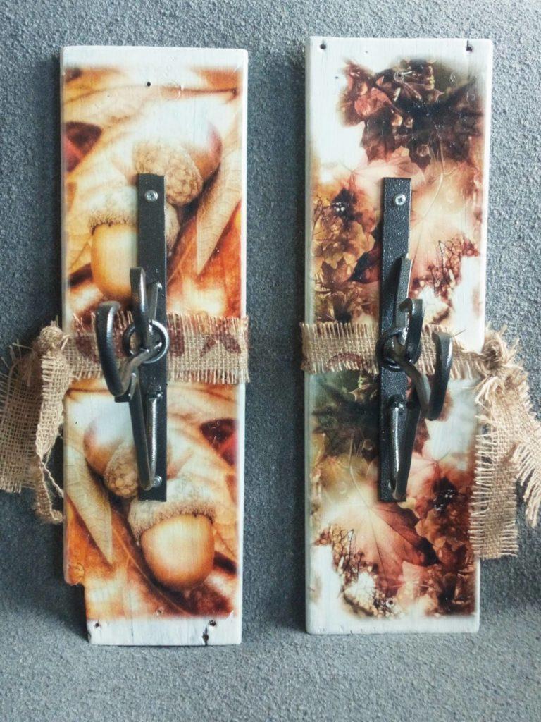 Deco-bordje:<br>Herfst &#8211; Blad en eikels met haak